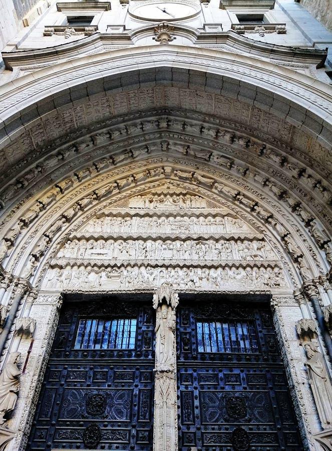Vertical shot of Santa Iglesia Catedral Primada de Toledo entrance in Toledo, Spain. A vertical shot of Santa Iglesia Catedral Primada de Toledo entrance in royalty free stock photography