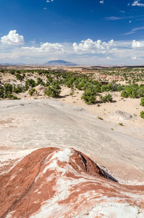Vertical shot of scenic desert landscape with rock in the foreground. In the US royalty free stock photos