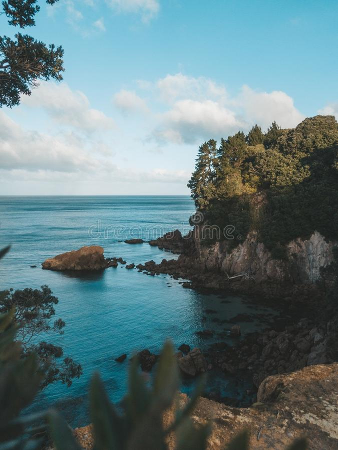 Vertical shot of a sea near the rocks and a cliff with trees and plants under a blue sky. A vertical shot of a sea near the rocks and a cliff with trees and stock photo
