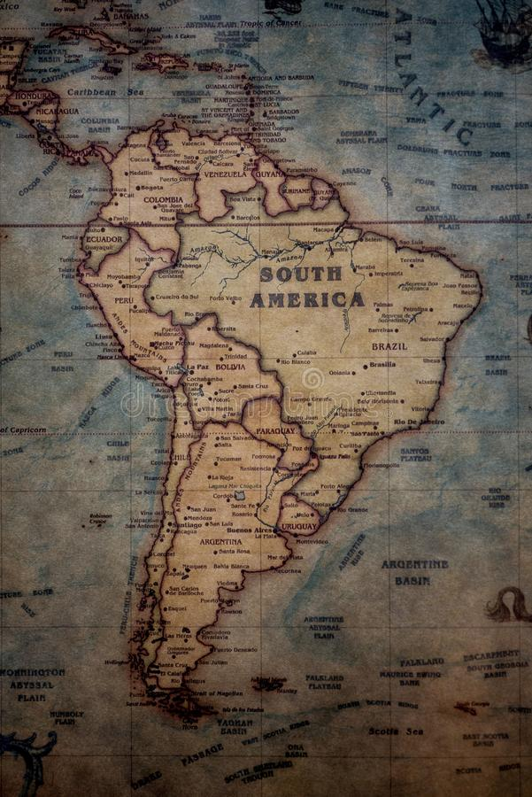Vertical shot of South America on the map. A vertical shot of South America on the map stock photos