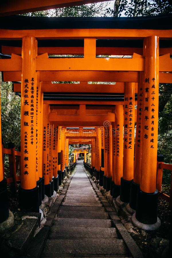 Vertical shot of stairs under orange Chinese temple gates. A vertical shot of stairs under orange Chinese temple gates royalty free stock photo