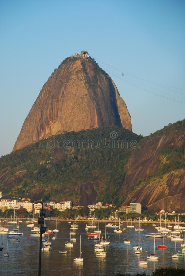 Vertical shot of Sugar Loaf and Urca stock images