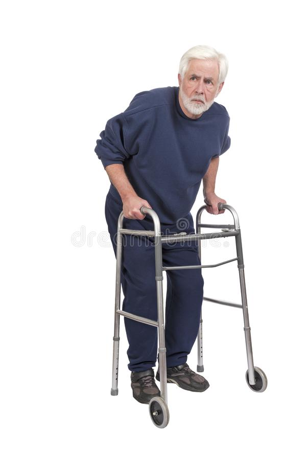 Suspicious Old Man With Walker Isolated On White royalty free stock photography