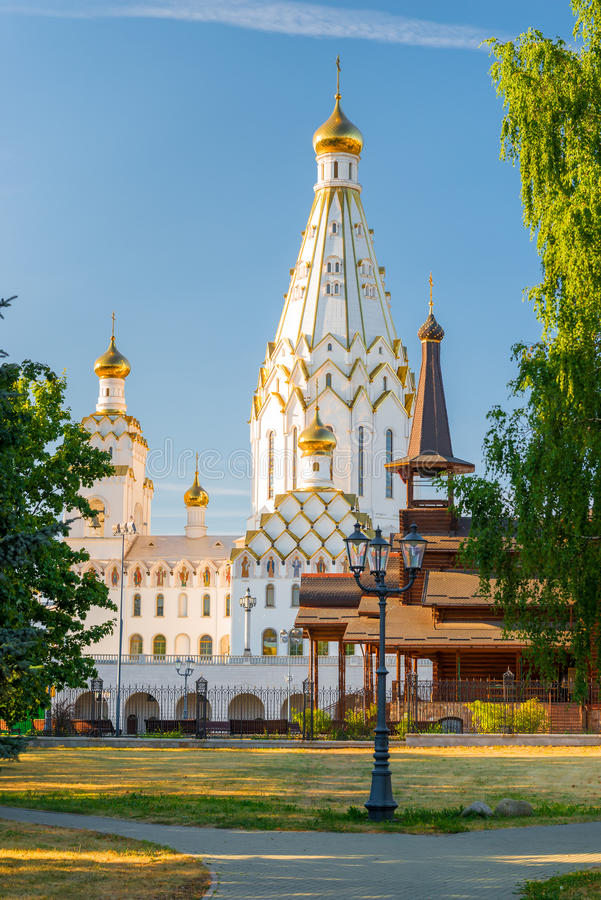 Vertical shot of the Temple of All Saints at sunset. In Minsk royalty free stock images
