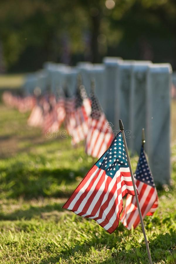 Veterans Cemetery with Flags royalty free stock photos