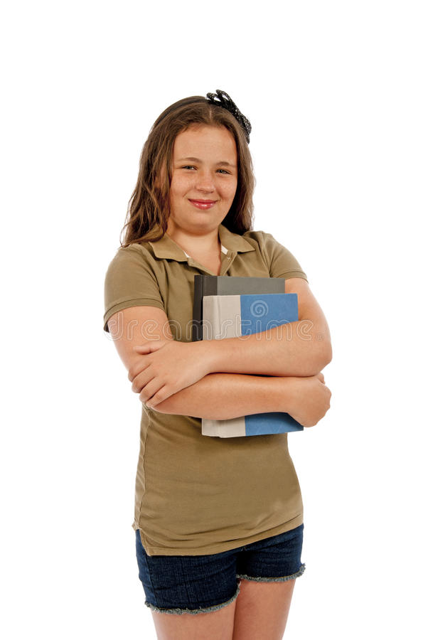 Girl Holding Books and Smiling Isolated
