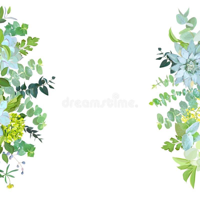 Vertical sides botanical vector design banner. vector illustration
