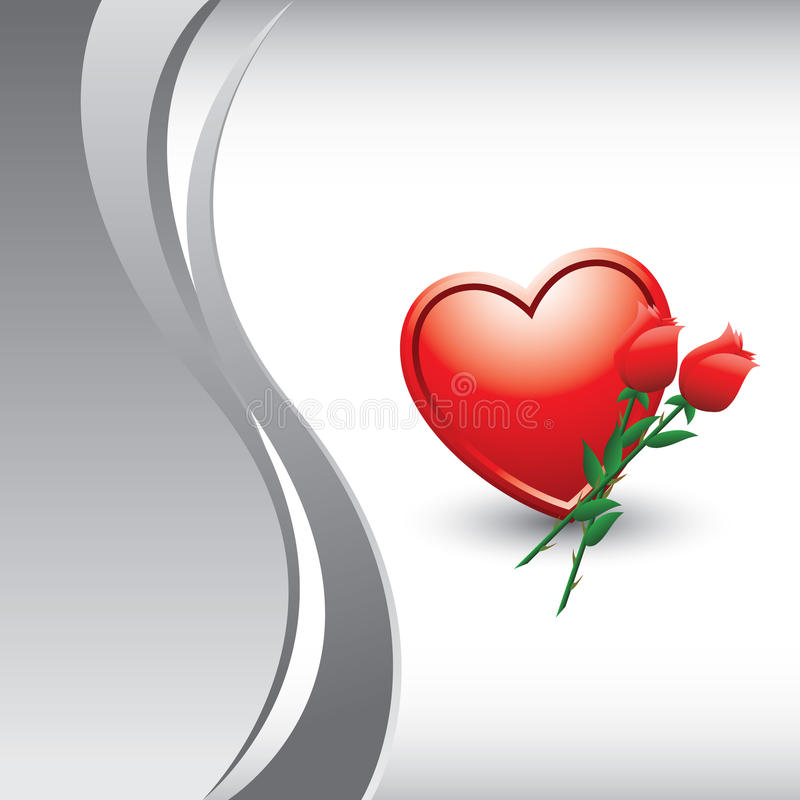 Vertical silver wave with roses and heart stock illustration