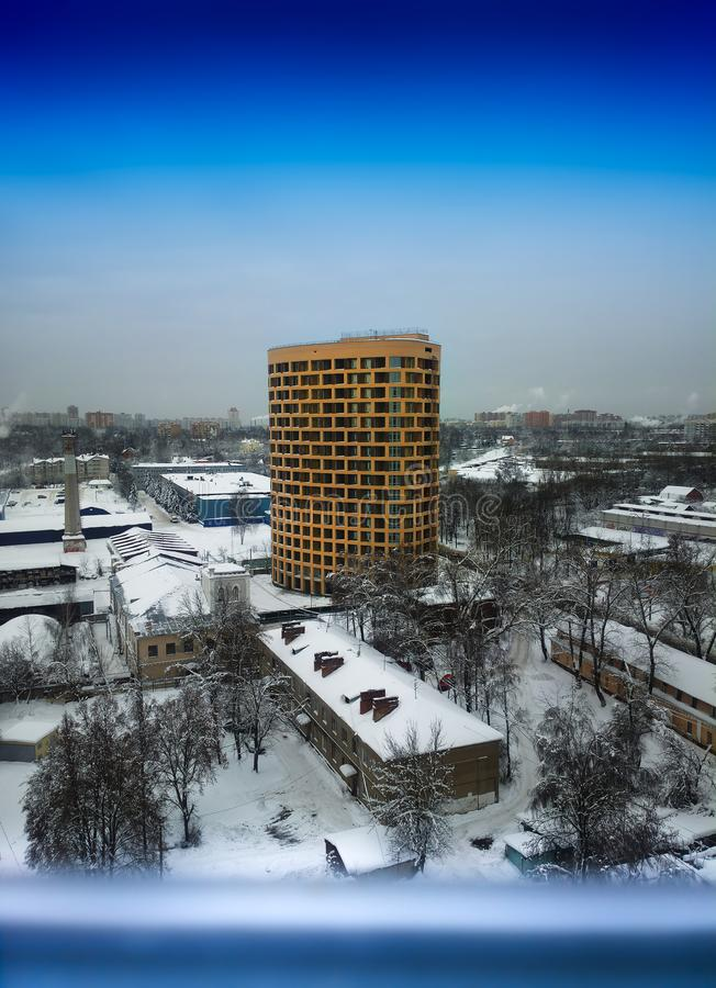 Vertical skyscrapper in Moscow suburbs background. Hd stock image