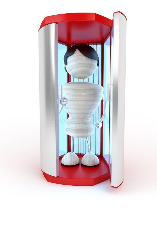 Vertical solarium. Man standing in spa vertical solarium vector illustration