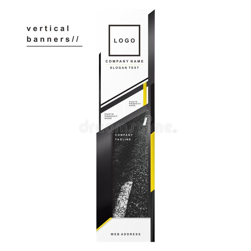 Vertical Sport Banners Black Yellow Metal Brand royalty free stock photos