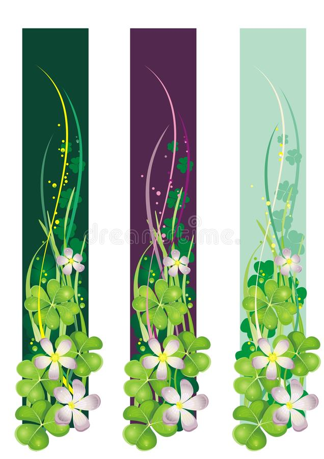Vertical Spring Banner with blooming clovers stock illustration