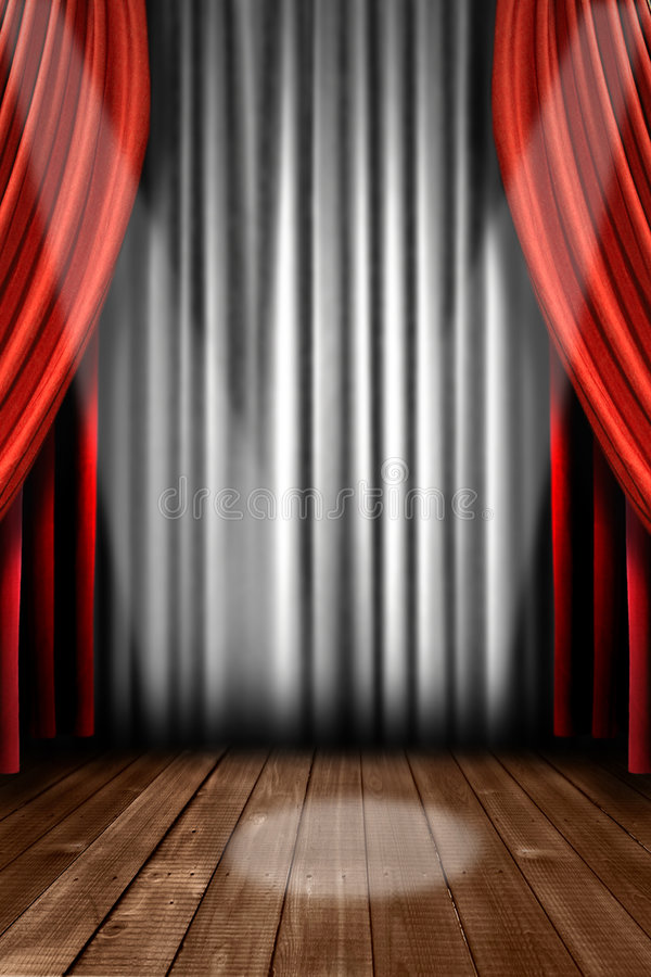 Download Vertical Stage Drapes With Spot Light Stock Illustration - Image: 8158856