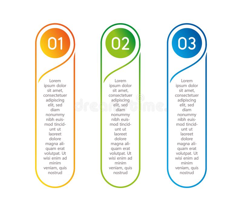 Vertical steps, infographic elements. Outline colorful menu for app interface. Number options. Web design of buttons. Elements. Infographics 1. 2. 3. Vector vector illustration