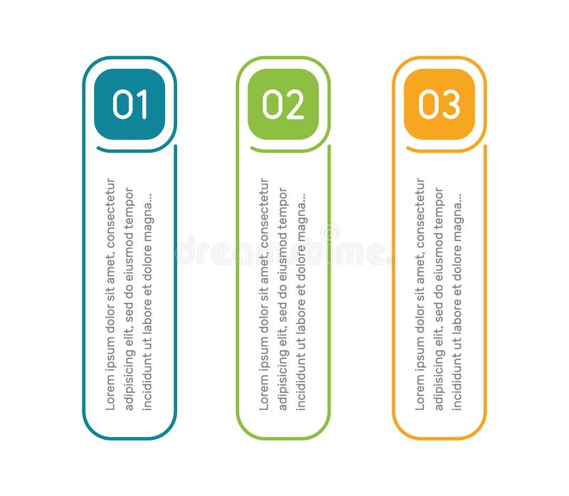 Vertical steps, infographic elements. Outline colorful menu for app interface. Number options. Web design of buttons. Elements. Infographics 1. 2. 3. Vector stock illustration