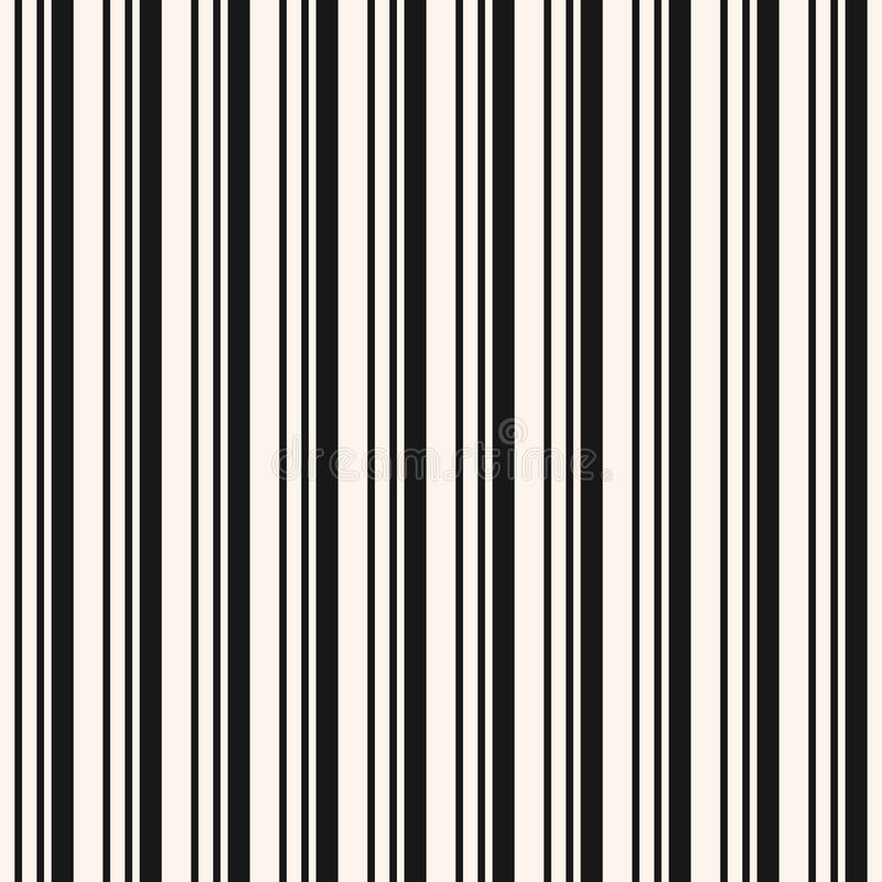 Vertical stripes seamless pattern. Simple black and white vector lines texture royalty free illustration