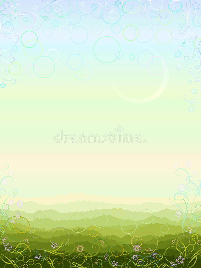 Vertical summer morning scenery. Made in light pastel colors with aerial perspective and floral border (other landscapes are in my gallery royalty free illustration