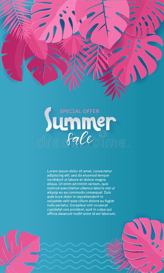 Vertical Summer Sale paper cut Background with Palm, monstera, banana pink Leaves with place for your text.Trendy Jungle banner. royalty free illustration