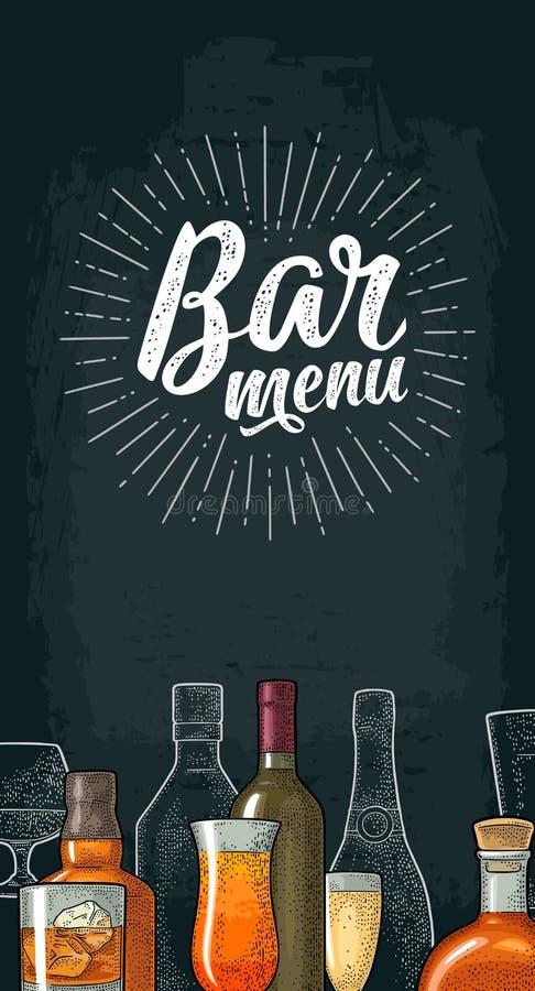 Vertical template for Bar menu alcohol drink. stock illustration