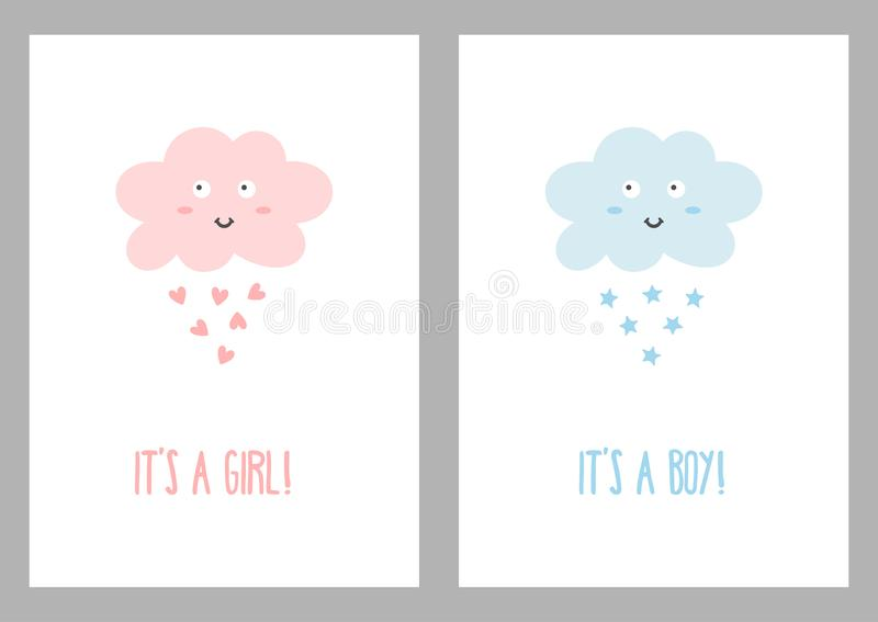 Vertical templates with texts `It`s a girl!` and `It`s a boy`! vector illustration