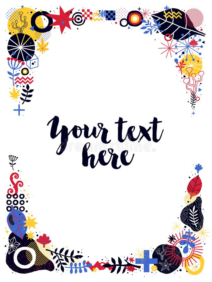 Vertical text frame template with floral and abstract elements. Can be used for prints, posters, banners and advertising. royalty free illustration