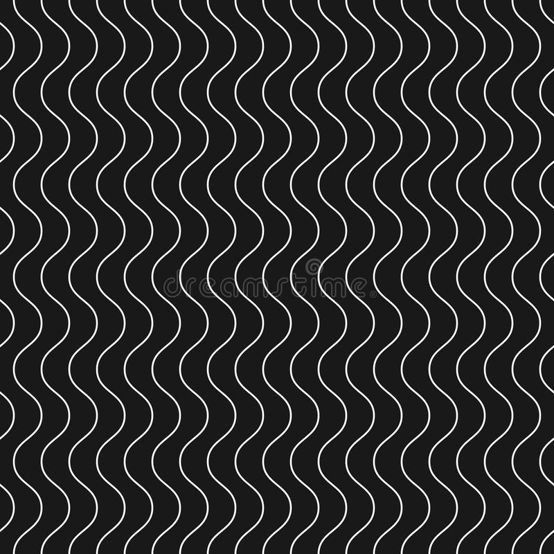 Vertical thin wavy lines vector seamless pattern. Dark geometric. Vertical thin wavy lines vector seamless pattern. Subtle monochrome background with delicate stock illustration