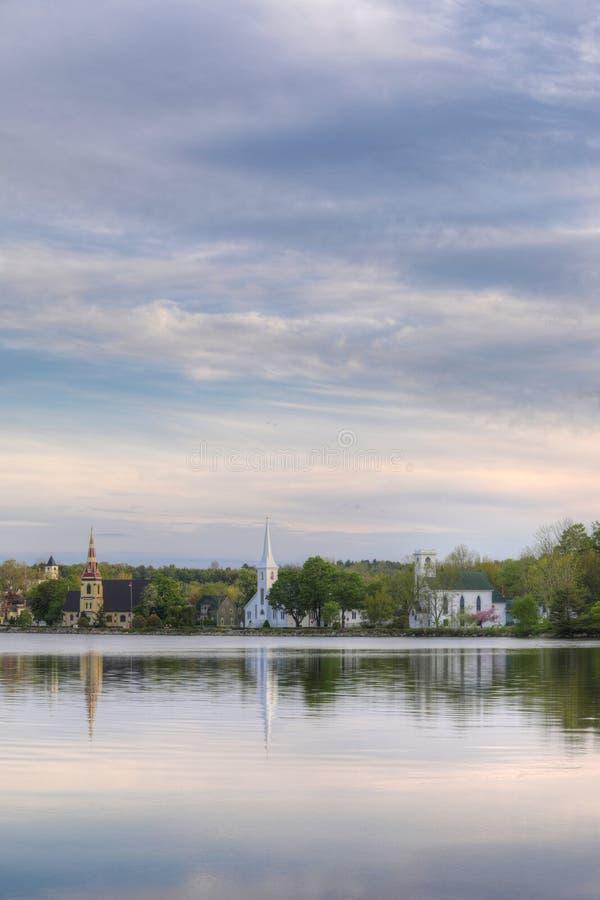 Vertical of the three churches of Mahone Bay, Nova Scotia stock photos