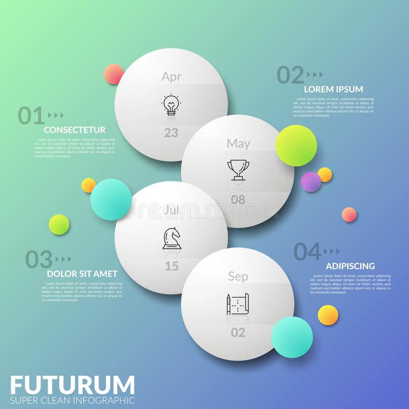 Vertical timeline. Four separate staggered round elements with thin line pictograms and date indication inside. Concept. Of daily planner. Futuristic stock illustration