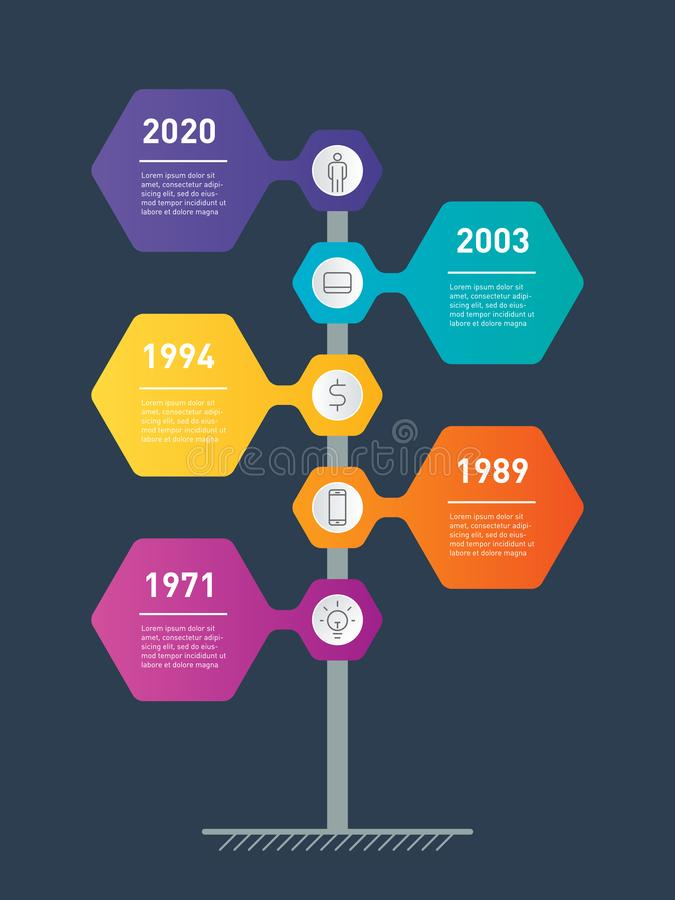 Vertical Timeline info graphics. The development and growth of the business. Time line or infographic with 5 parts. Business. Concept with 5 steps, options royalty free illustration