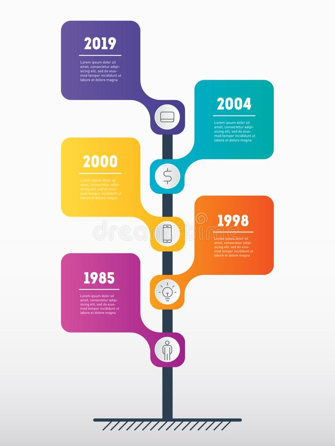 Vertical Timeline infographics. Business concept with 5 processes, options, parts or steps. The development and growth of the bus stock illustration