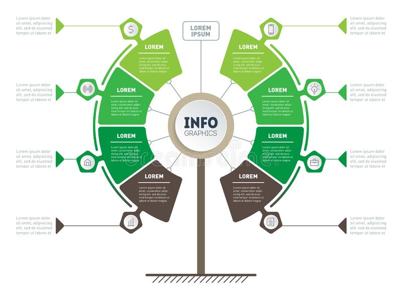 Vertical Timeline infographics. Ecology research. Tree of development and growth of the eco business. Infographic of tendencies. And trends. Business vector illustration