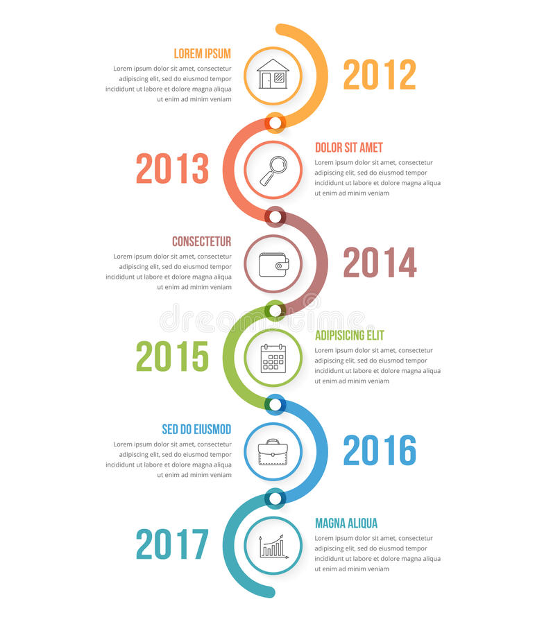 Vertical Timeline. Infographics template with colorful circles, workflow or process diagram vector illustration
