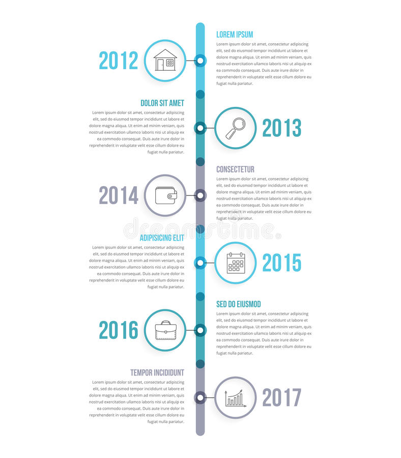 Vertical Timeline. Infographics template with colorful circles, workflow or process diagram stock illustration
