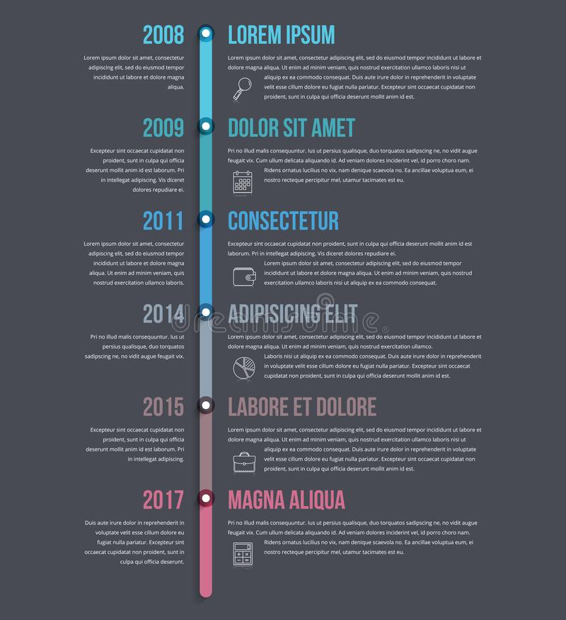 Vertical Timeline Infographics. Template, workflow, process diagram vector illustration