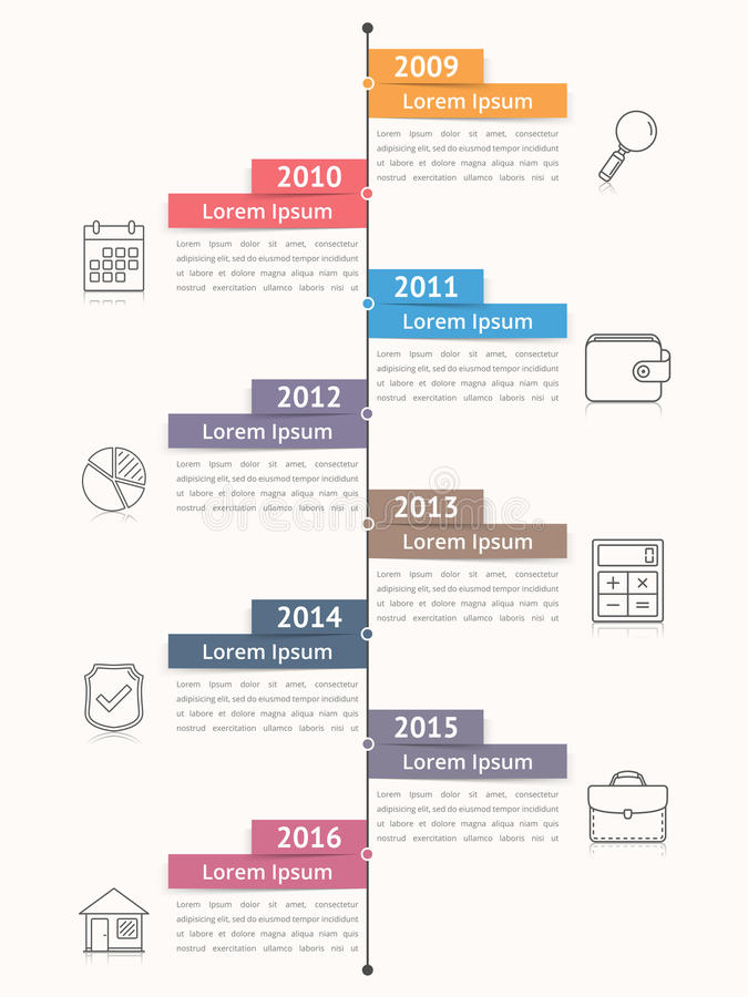 Vertical Timeline Infographics. Template, workflow or process diagram, flowchart royalty free illustration