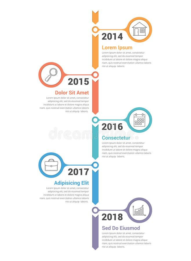 Vertical Timeline Infographics. Template with arrows royalty free illustration