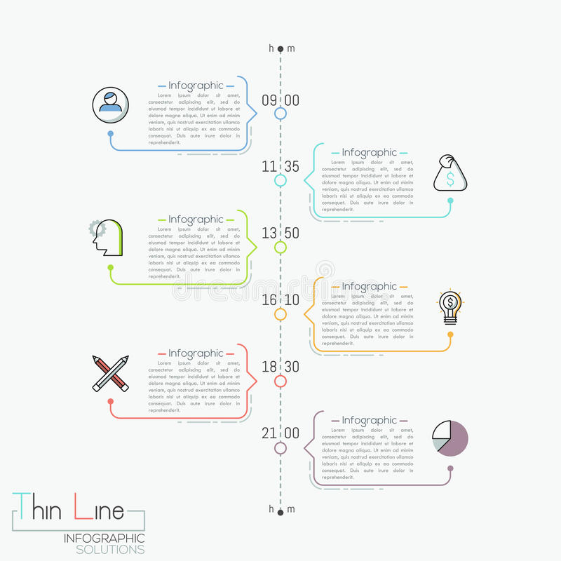 Vertical timeline with time indication, pictograms and text boxes royalty free illustration
