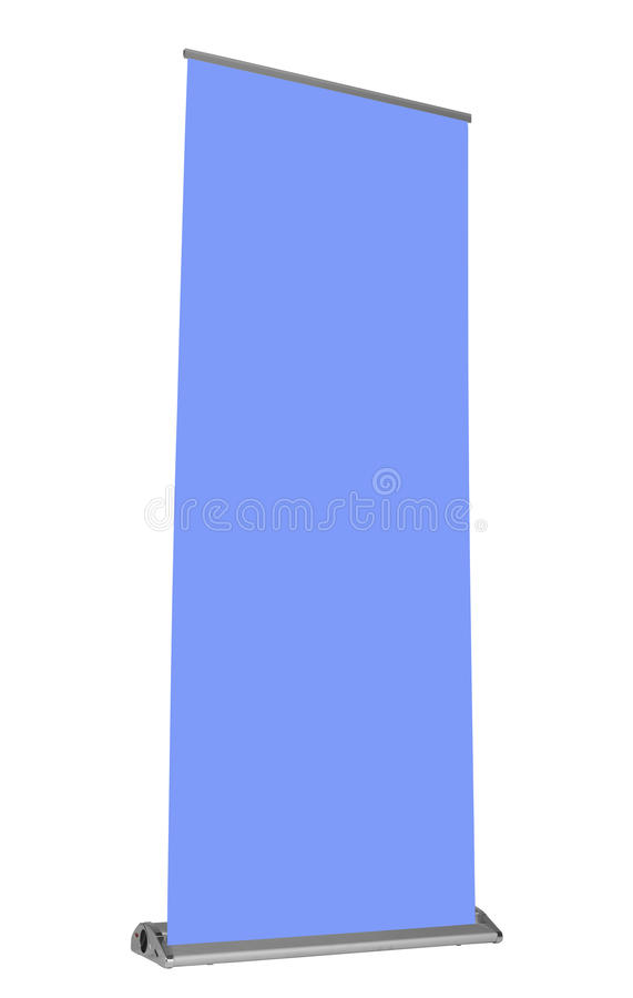Vertical Trade Show Banner. And holder with blank blue place holder and clipping paths royalty free stock image