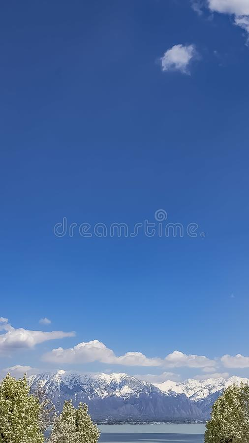 Vertical Trees with beautiful white flowers against blue sky with clouds on a sunny day. A distant snow peaked mountain towers over the valley and lake stock images