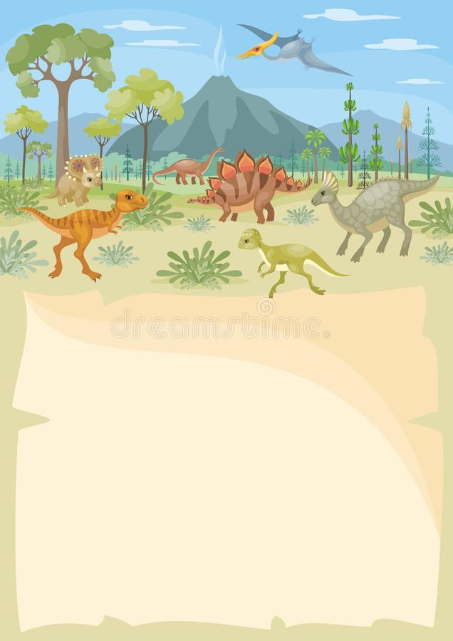 Vertical background with dinosaurs royalty free illustration