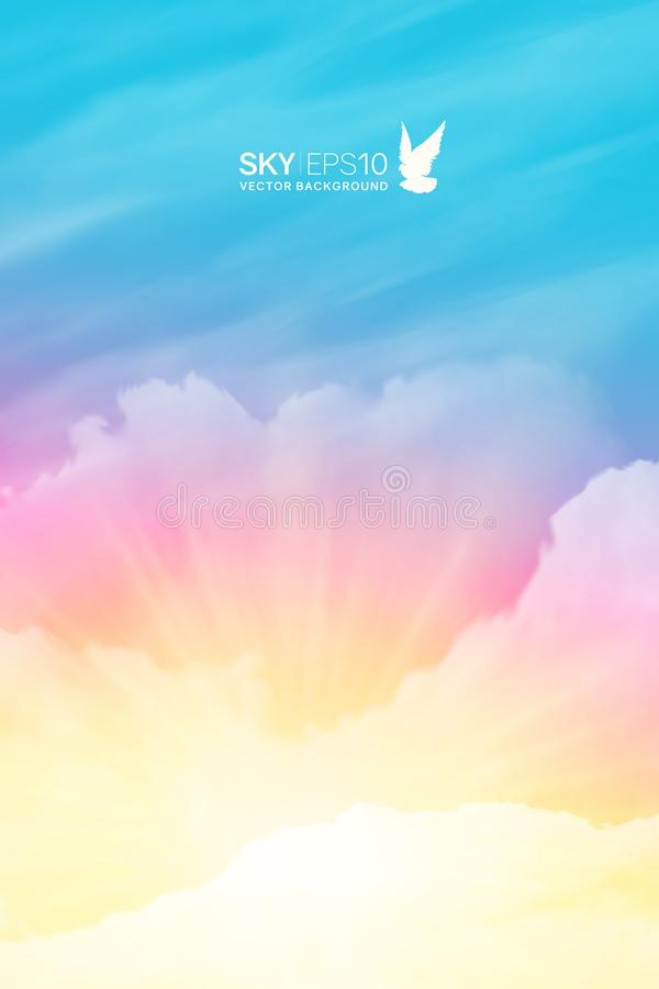 Free Vertical Vector Background With Realistic Pink-blue Sky Stock Image - 134787001