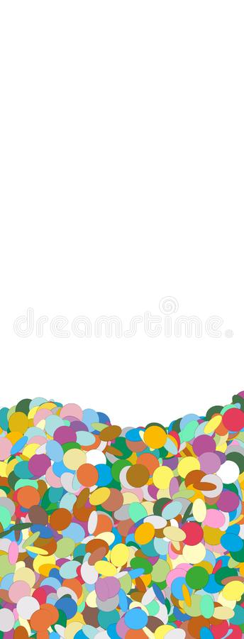 Vertical Vector Banner with Confetti Heap on the Ground stock illustration