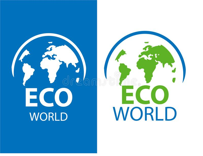 Color label of ECO earth on white and blue background. Vector il royalty free illustration