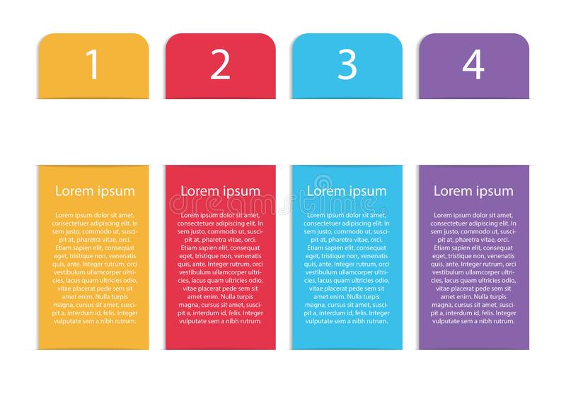 Vertical vector modern colorful infographic template with four s. Trips and four options or steps, isolated on white background with shadows vector illustration