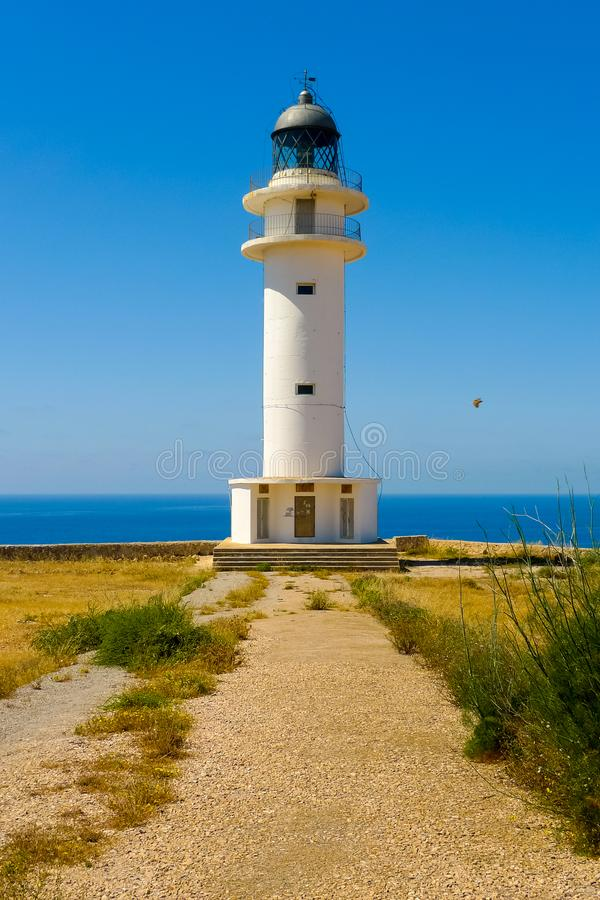 Vertical view of Cap de Barbaria lighthouse. Formentera, Balearic Islands, Spain stock photo