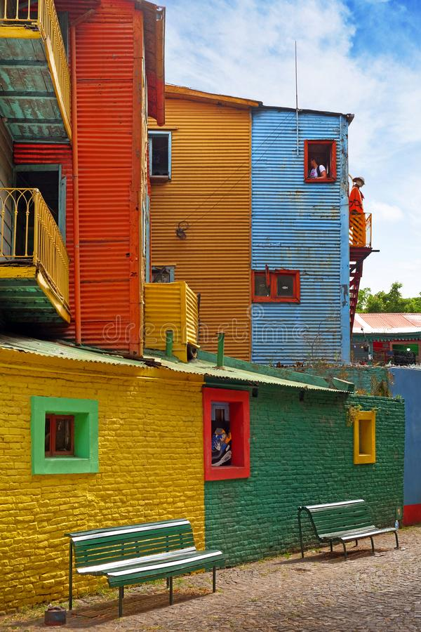 Vertical view of colorful buildings in Caminito of the Argentinean district La Boca, in Buenos Aires, with vintage walls. View of colorful buildings in Caminito stock photo