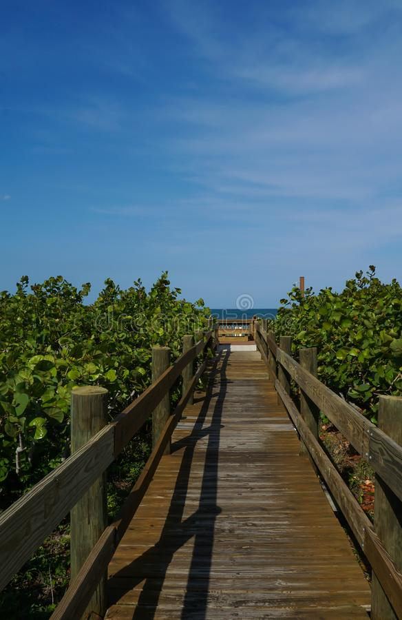Vertical view of a empty wooden pathway to the beach stock photography