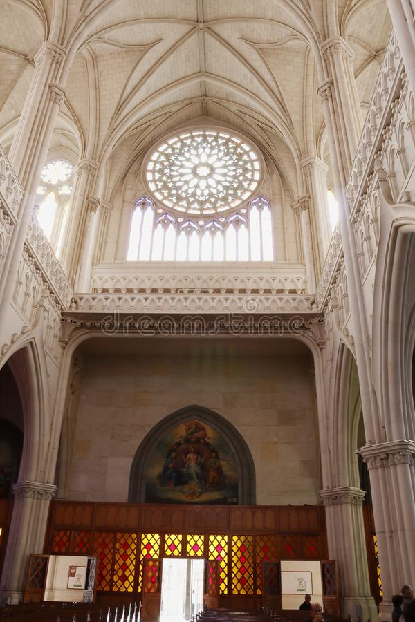 Vertical view of the entrance inside the Expiatory with a view of the rosette, León Gto. Vertical format seen inside the temple The Expiatory looking at the royalty free stock photos