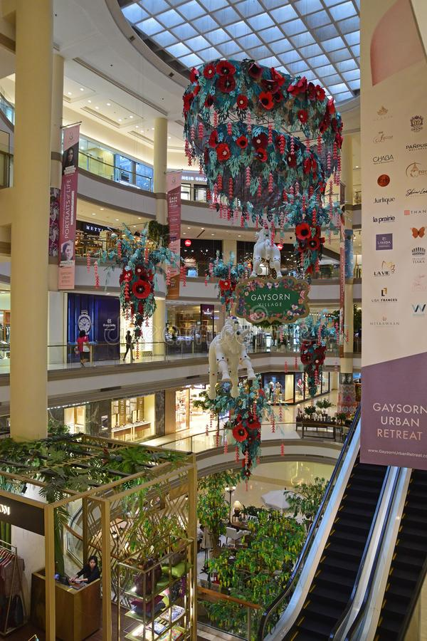 Vertical view of Gaysorn Shopping Mall at Bangkok in the Ratchaprasong area with plenty of luxury international brand shops stock photos