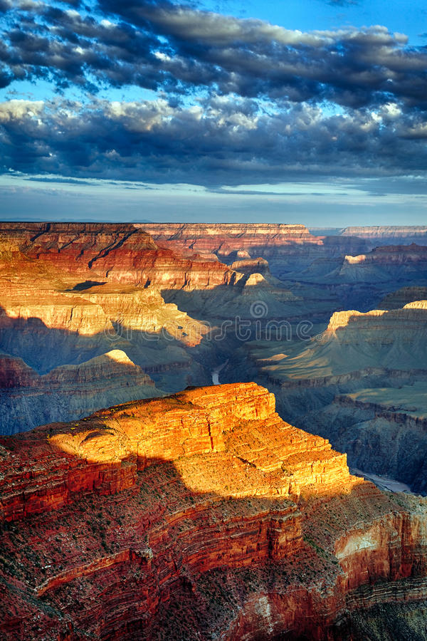Vertical view of Grand Canyon at sunrise royalty free stock image